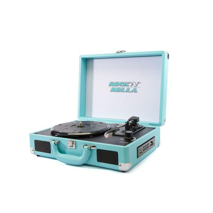 Rock 'n' Rolla Jr Teal Portable Briefcase Vinyl Turntable