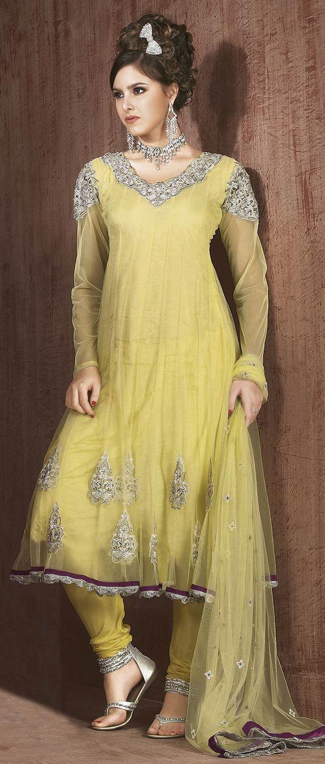 Lemon #Yellow Net #Churidar Suit