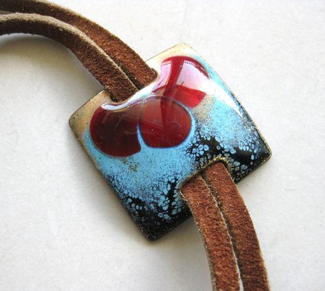 Vintage Enamel Bolero Tie Necklace - Mid-Century Copper Enamel on Leather Lariat - Hippie Chic Jewelry