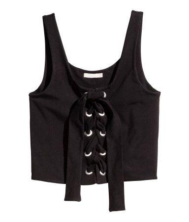 Laced top | Black | Ladies | H&M AE