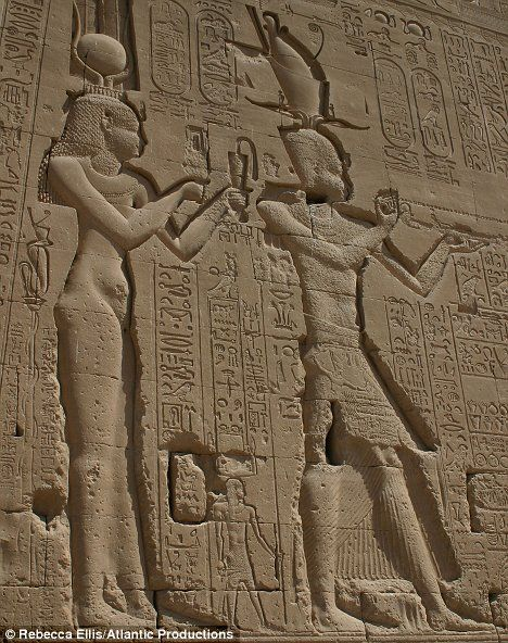 Detail: Image of Cleopatra on the temple walls of Dendera