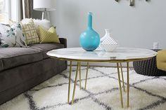 mid century tables marble with metal edge - Google Search