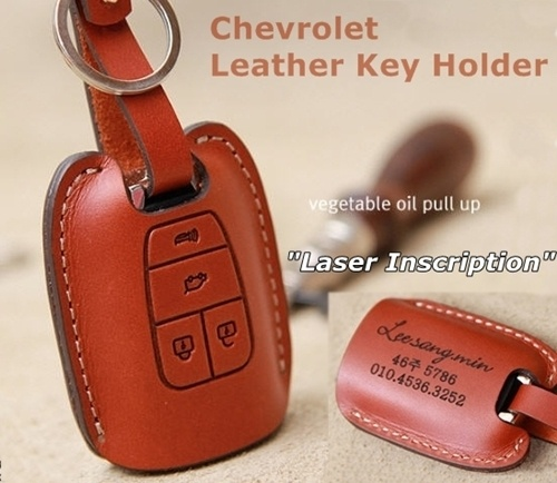 Chevrolet leather key case. Laser-inscribed