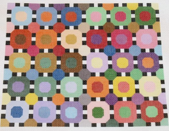 The Circles needlepoint canvases by Pat & Lee, design area is 10.5 X 9 inches, it is 16 mesh.  56$.