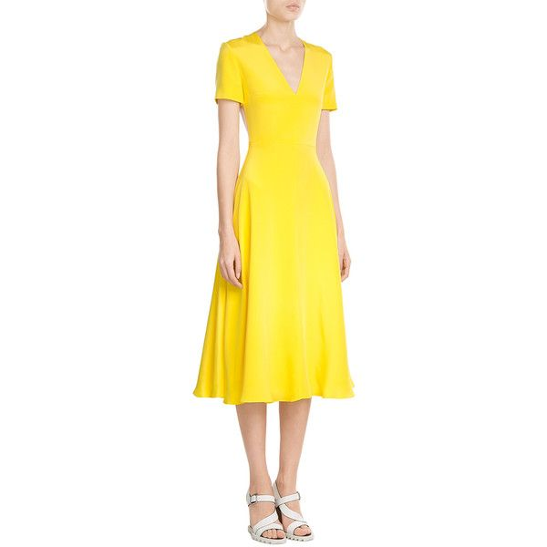 ROKSANDA Silk Colorblock Dress (€685) ❤ liked on Polyvore featuring dresses, evening party dresses, holiday dresses, special occasion dresses, cocktail party dress and yellow evening dress