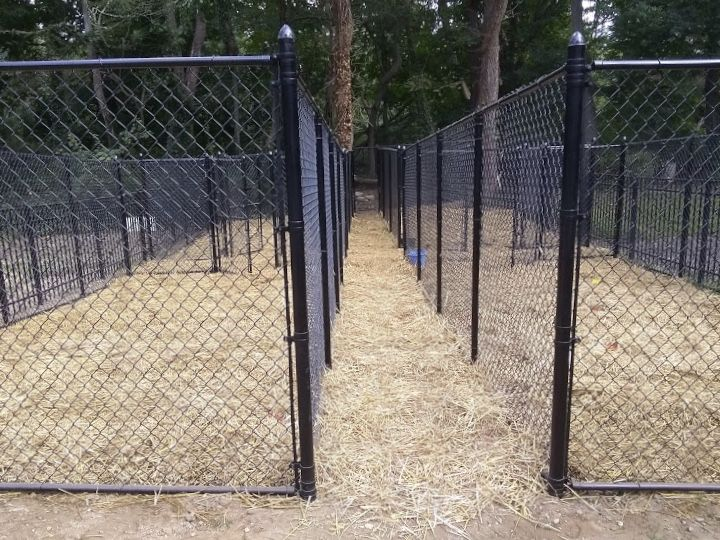 72 Black Vinyl Coated Chain Link Kennel Fencing Installed At