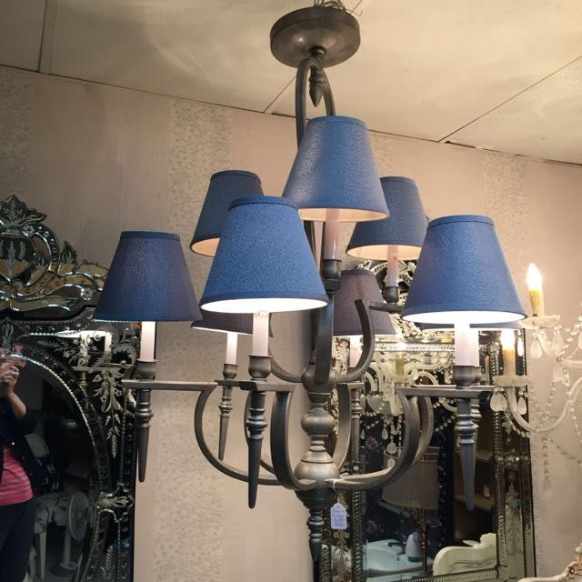 Reduced: Beautiful Gothic Blue Shades Chandelier