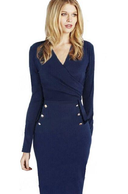"""Jolie robe """"vintage"""" bleue et noire avec boutons dorés."""