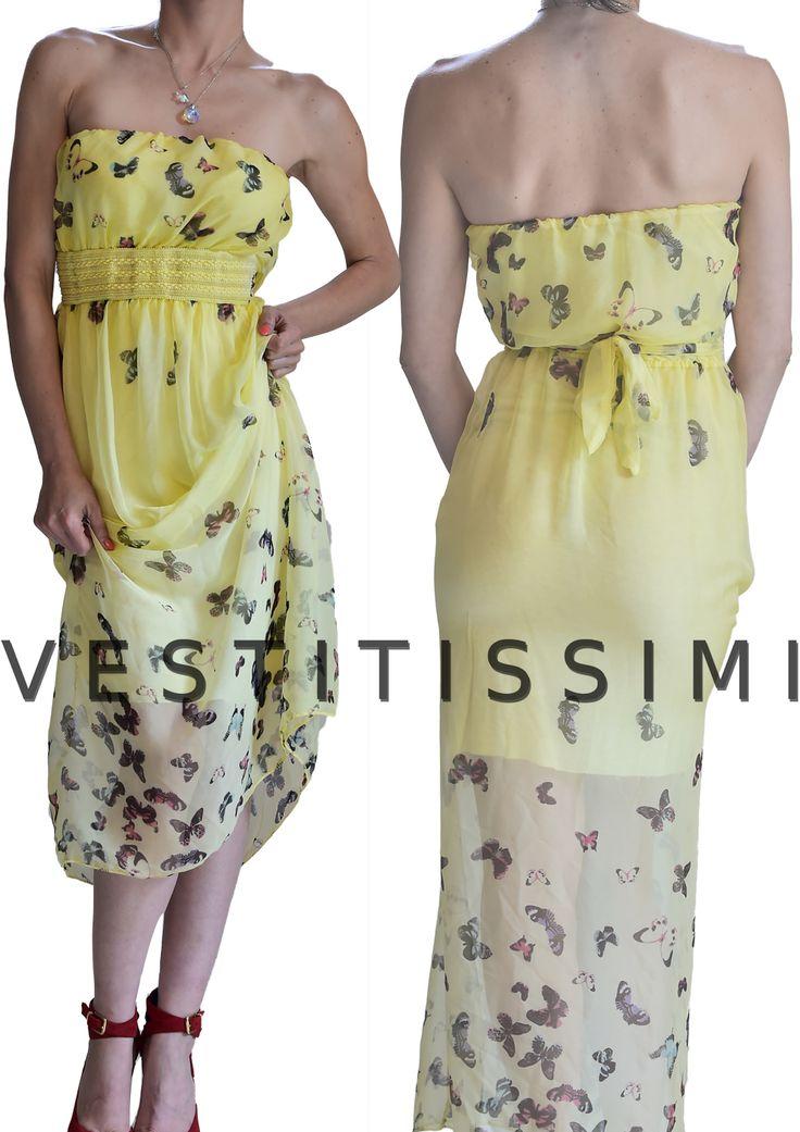 vestito donna lungo con scollatura a fascia e fantasia a farfalle colore giallo