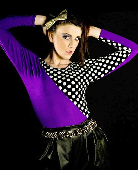 Purple/Black & White polka dot jersey top  by BlackSheepFashion, $29.00/£18.00