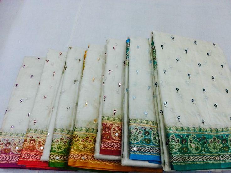 Pure tassar silk with mirror hand work