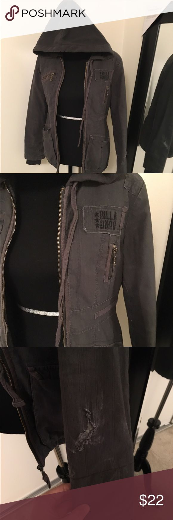 Grey zip up jacket Billabong jacket with a sweater hood and cargo like shell. Has been worn and has a tear in the arm but still functional Billabong Jackets & Coats Utility Jackets