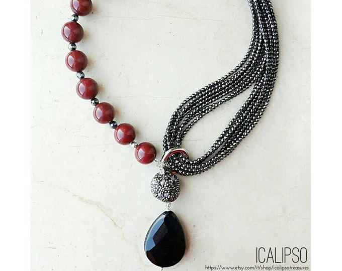 Gioielli collana di rubini rosso per le donne, collana lariat, gioielli in pietre dure collana dichiarazione collana boho per moglie, y collana regalo fidanzata