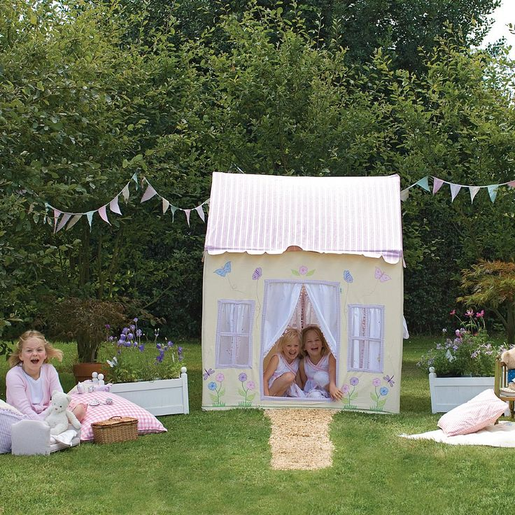 Enjoy summer all year round in our pretty lemon Butterfly Cottage. Trimmed with lilac and decorated with butterflies, dragonflies and flowers, this light and sunny playhouse is the perfect place to relax and dream the day away...  100% cotton. Easy to assemble with a light metal frame. Storage bag included.