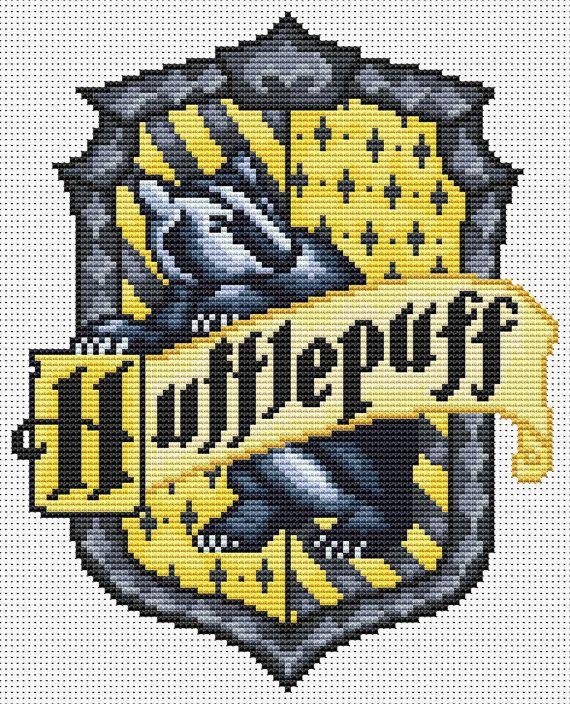 PDF Cross Stitch Pattern for the Hufflepuff Crest - Harry Potter Hogwarts House Cross Stitch Chart