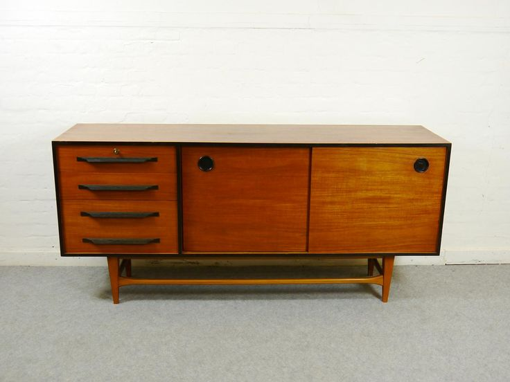 Vintage Teak Credenza with 4 Drawers, Immagine 4