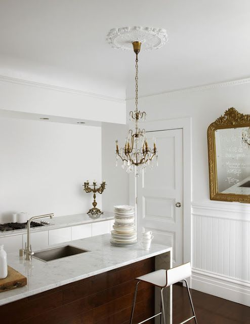 Modern Island U0026 Surfaces In An Older House, Marble Countertop, Chandelier  W/medallion, All White,