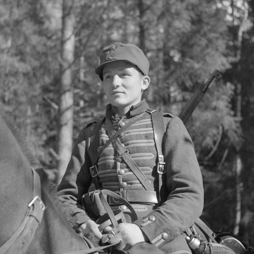 Young dragoon of the Finnish Cavalry Brigade. Tsalkki-Suojärvi, September 12, 1941.
