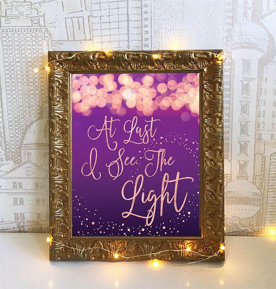Tangled At Last I See The Light Printable Sign Rose Gold Star Children's Room Disney Inspired Rapunzel Instant Download Typography Print