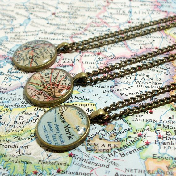 """This would be a great DIY """"charm"""" necklace - group all the cities loved ones live in, or places you've traveled.  Using the Book Page Necklace Tutorial, http://pinterest.com/pin/154740937166462240/"""