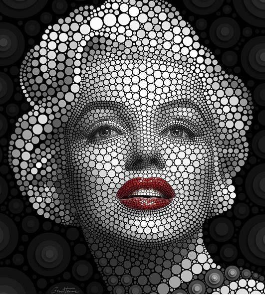 Ben Heine ~ Digital Circlism: Digital Circlism, Artists, Circles, Marilyn Monroe, Ben Heine, Benhein, Digital Art, Skiing Masks, Portraits