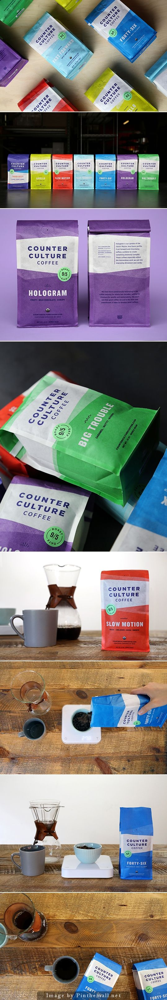 Counter Culture Coffee. What's you favorite color? via @ng_johnson #packaging #design #coffee