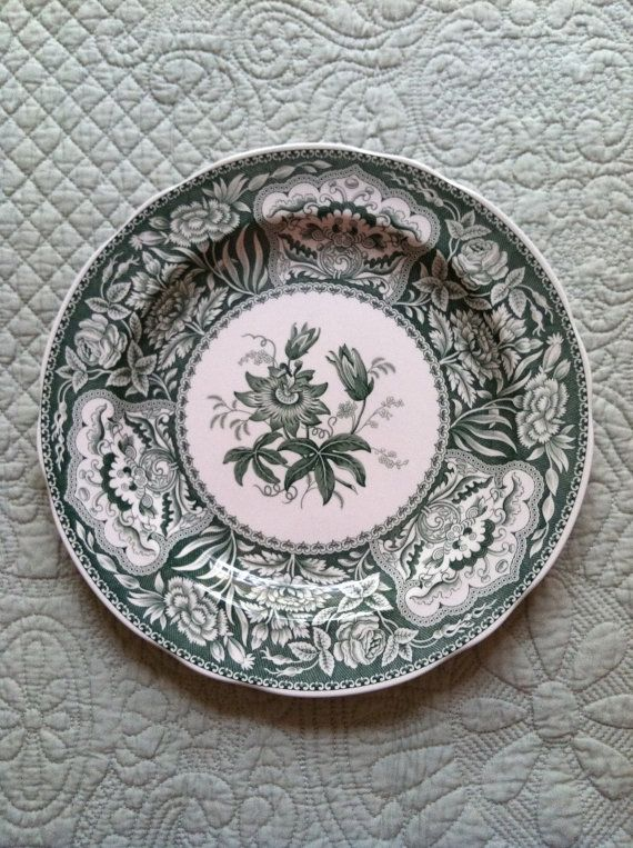 Spode Green Transferware Plate Floral Floral Etsy And