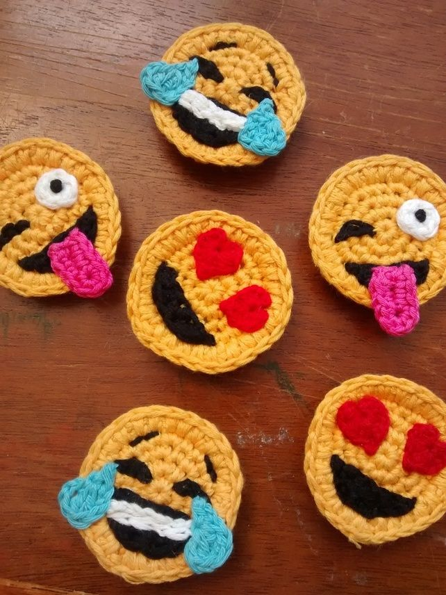 Set of 3 Crochet Emoji Magnets