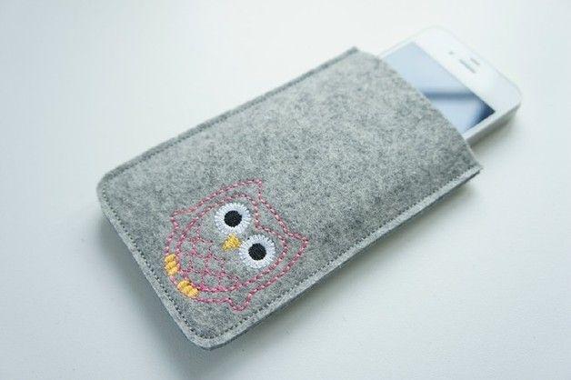 """♥ Handyhülle aus Wollfilz """"Eule #5""""  Handy Case wool felt Owl"""