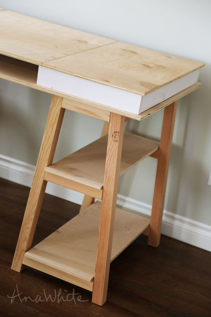 Ana white build a sawhorse storage leg desk free and Sawhorse desk legs
