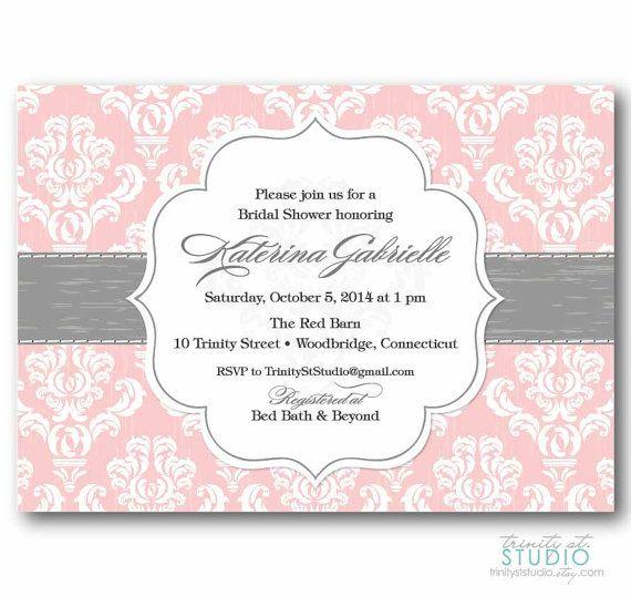 bridal shower invitation shabby chic vintage damask birthday