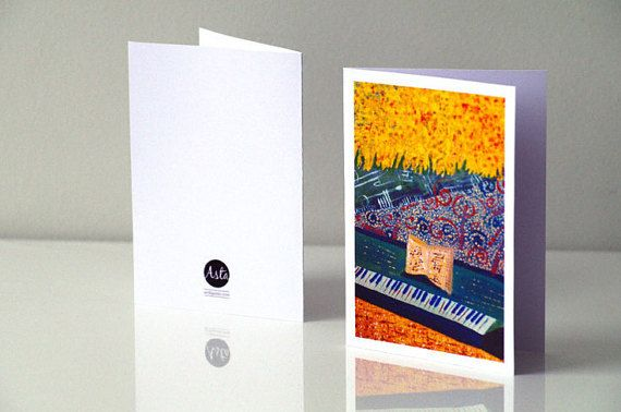 MUSIC CARD Pianist birthday card - Piano greeting card - Piano birthday card - Musical greeting card - Happy birthday card piano gift - Piano art card