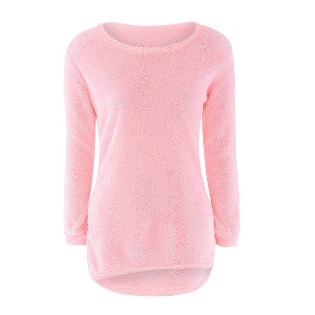 2017 New Hot Women Autumn Winter Fleece Warm Sweaters Long Sleeve Solid Jumper Pullover Tops Bottoming Blouse Shirts Plus Size