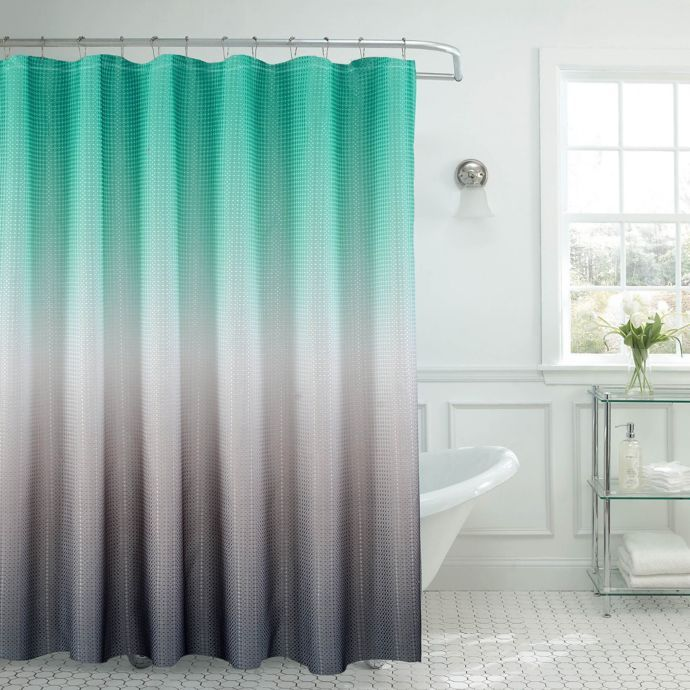 Ombre Waffle Shower Curtain Bed Bath Beyond Ombre Shower