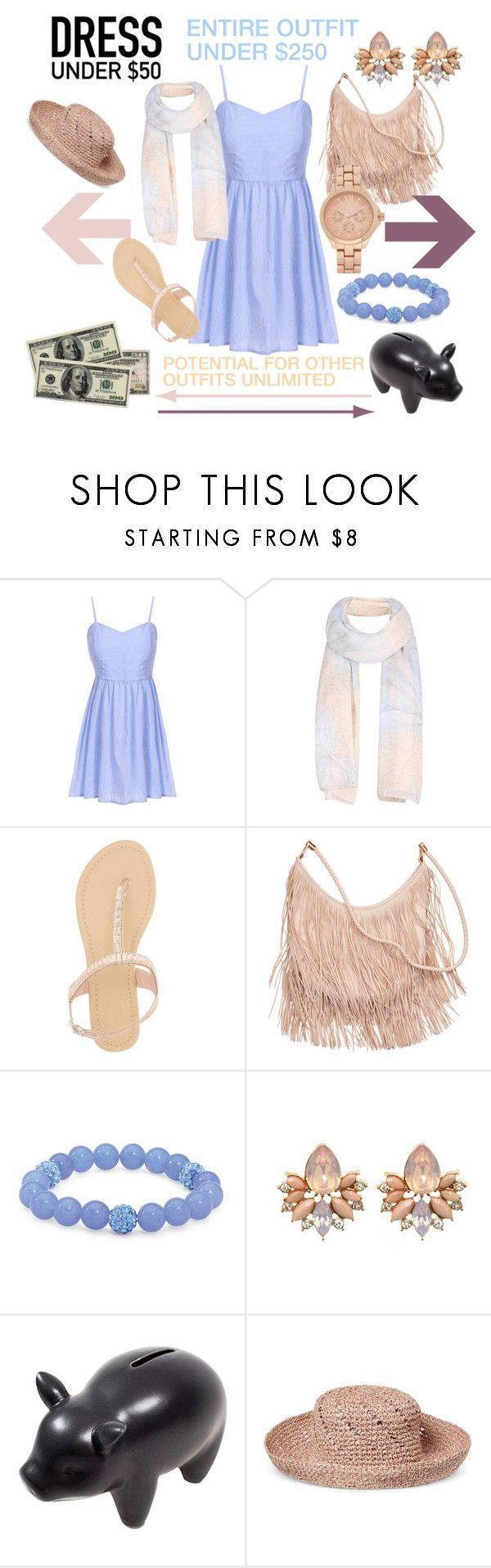 """""""Don't Break The Piggy Bank Little Blue Dress 1"""" by sharee64 on Polyvore featuring Charlotte Russe, Palm Beach Jewelry, Dot & Bo, Lauren Ralph Lauren and Forever 21"""