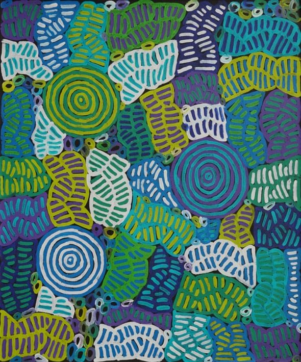 Awelye Body Painting by Betty Mbitjana, 90x75 cm #AboriginalArt