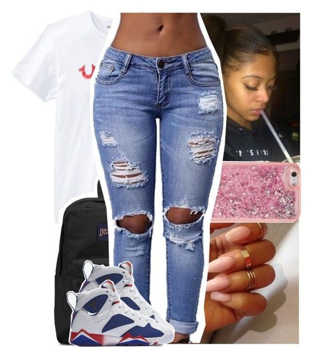 """""""⛽."""" by theyknowtyy ❤ liked on Polyvore featuring True Religion, JanSport, ban.do and NIKE"""