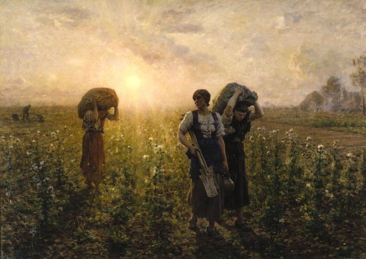 """""""Fin du Travail (The End of the Working Day)"""" by Jules Breton. 1886-87 oil on canvas. In the collection of The Brooklyn Museum, New York."""