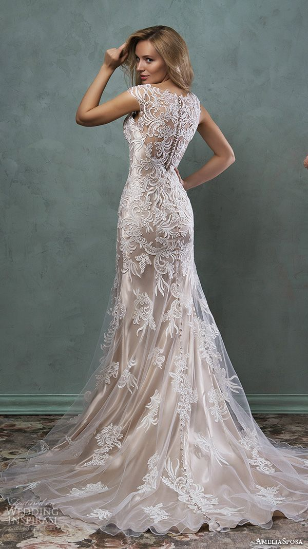 amelia sposa 2016 wedding dresses beautiful cap sleeves v scallop neckline embroidered champagne gold fit flare mermaid dress pia