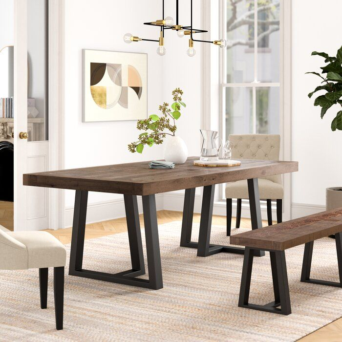 Stephen Dining Table In 2020 Dining Table Rustic Kitchen Tables Dining Table With Bench