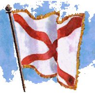 """February 16, 1895: Alabama formally adopts a state flag for the first time. The legislature dictated """"a crimson cross of St. Andrew upon a field of white,"""" which was the design submitted by John W. A. Sanford, Jr., who also sponsored the bill. This flag remains Alabama's flag today."""