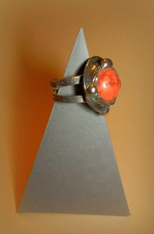http://megasilver.pl/Pierscionek-p293 #ring #metalwork #handmade #orange #agate #stone #jewelry #jewellery