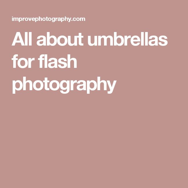 All about umbrellas for flash photography