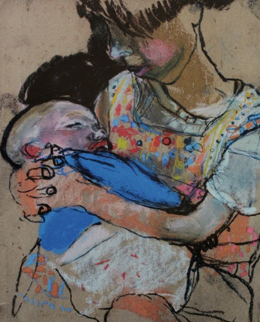 """Joan Eardley, """"Girl with a Baby,"""" c.1962, pastel on sandpaper, 10 5/8 x 8 3/4 in, Private Collection"""