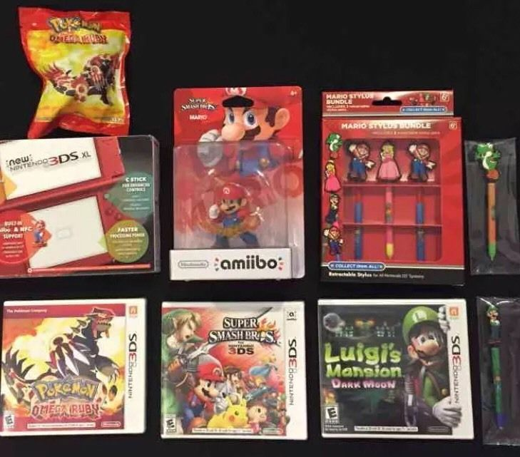 New Nintendo 3DS XL Red 9 PC Bundle Console Games Amiibo Stylus More 045496781507 | eBay