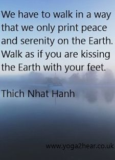 We have to walk in a way that we only print peace and serenity on the Earth.  Walk as if you are kissing the Earth with your feet.  Thich Nhat Hahn