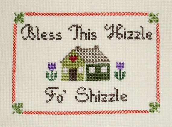 "Snoop Dogg ""Bless this House"" counted cross stitch PATTERN"