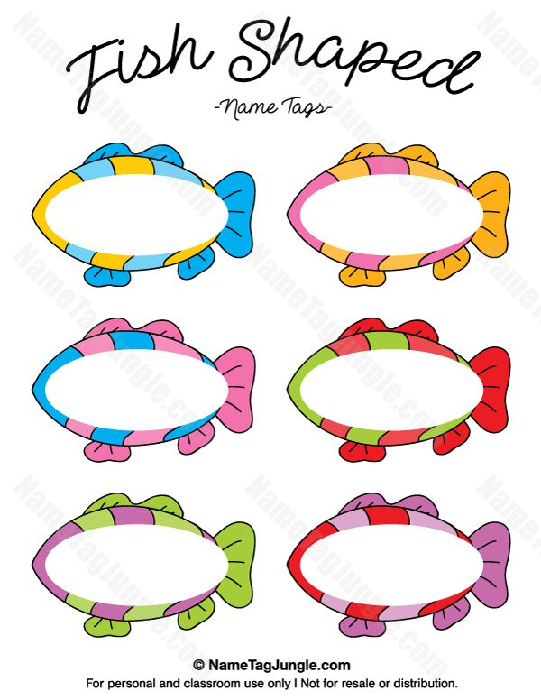 Free printable fish-shaped name tags. The template can also be used for creating items like labels and place cards. Download the PDF at http://nametagjungle.com/name-tag/fish-shaped/