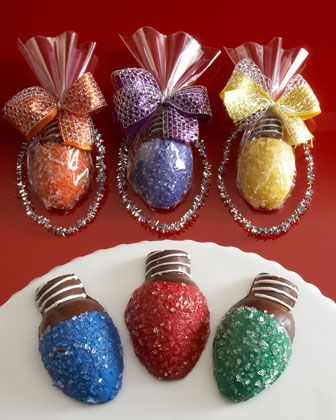 Chocolate covered strawberries made to look like Christmas lights!
