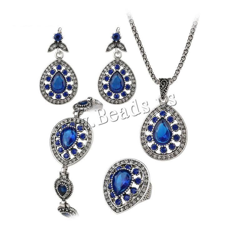 Zinc Alloy Jewelry Sets, anillo de dedo & pulsera & pendiente & collar, aleación de zinc, con cadena de hierro & Vidrio, Gota, chapado en color de plata antigua, cadena de linterna & facetas, libre de plomo & cadmio, 40cm, 17.7cm, tamaño:7, longitud:aproximado 7 Inch, aproximado 15 Inch, Vendido por Set,Abalorios de joyería por mayor de China